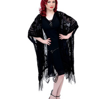 Art Deco Style Black Floral Lattice Fringe Riwana Scarf Coat