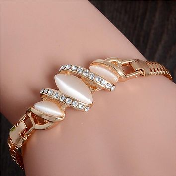 1pc Women Gold Filled Shine Austrian Crystal Bracelets & Bangles Women Opal Bracelet Gift TL227