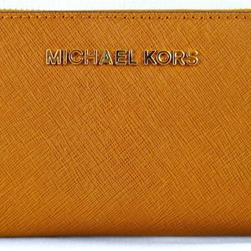 MICHAEL MICHAEL KORS JET SET LUGGAGE SAFFIANO LEATHER PHONE CASE,WRISTLET