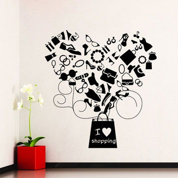 Wall Decal Quotes I Love Shopping Women's Clothing Cosmetics Fashion Decals for Window Shops  Vinyl Stickers Home Decor Art Murals 3827