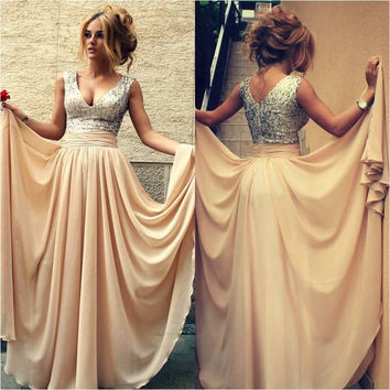 Sequin Prom Dresses,V-Neck Prom Dresses,Long Evening Dress