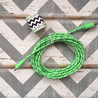 New Super Cute Jeweled Black & White Chevron Design USB Wall Connector + 10ft Braided Green IPhone 5/5s/5c Cable Cord