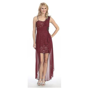 Spaghetti Strapped Short Chiffon Burgundy Sheath Semi Formal Dress
