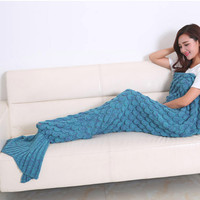 Super Soft Knitted Mermaid Tail Blanket Adult Handmade Crochet Yarn Mermaid Blanket Sofa Warm Wrap Sleeping Bag Blue