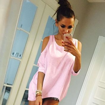 Fashion Solid Color strapless Scoop Neck Long Sleeve Loose blouse top
