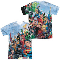 JLA/JUSTICE LEAGUE OF AMERICA (FRONT/BACK PRINT) -  S/S ADULT 100% POLY CREW - WHITE -