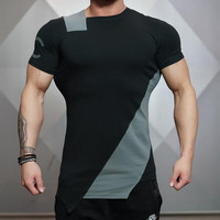 Short Sleeve Patchwork Gym Slim T-shirts [10657853699]