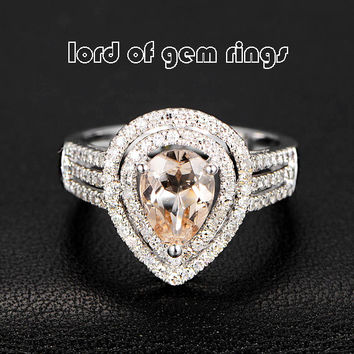 Ready to Ship - Pear Morganite Engagement Ring Pave Diamond Wedding 14K White Gold 6x8mm Double Halo
