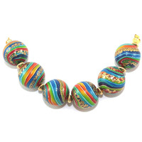 Handmade stripes beads, round beads for Jewelry Making, beads in rainbow colors with gold, Craft supplies, 6 colorful Polymer Clay beads