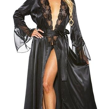 Satin Charmeuse & Chiffon Fitted Dressing Robe w/Lace Trim (Small-4X)