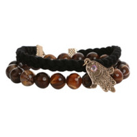 Hamsa Brown Bead Black Cord Bracelet 2 Pack