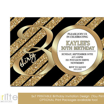 30th Birthday Invitation, Milestone Birthday Invitation - Gold Tone Glitter Black Stripes - 5x7 - Modern Number - unique - You Print