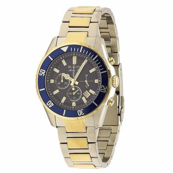 Bulova Marine Star Collection 98B230 Blue/Silver/Gold Chronograph Analog Watch (Size: Men's Standard, Color: Blue/Silver/Gold)