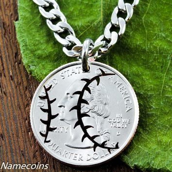 Baseball Necklace, Sports Jewelry, Hand Cut Coin by Namecoins