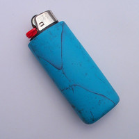 Cigarette Lighter Cover, Polymer Clay, Bic lighter cover, turquoise