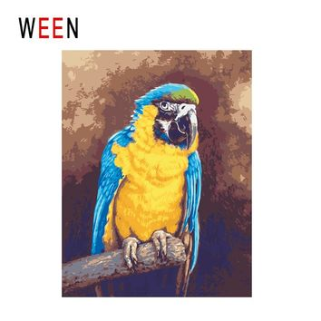 WEEN Parrot Diy Painting By Numbers Abstract Bird Oil Painting On Canvas Animal Cuadros Decoracion Acrylic Wall Art Home Decor