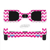 The Pink & White Chevron Pattern Full-Body Skin Set for the Smart Drifting SuperCharged iiRov HoverBoard