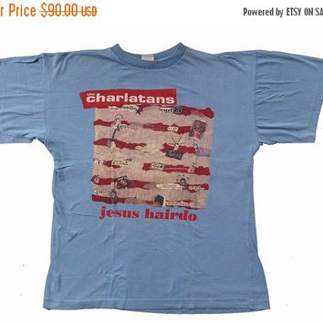 BIG SALE 25% 90's  THE Charlatans Vintage Jesus Hairdo Punk New Wave Concert Blue T shirt Xl