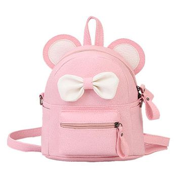 School Backpack trendy Aelicy bags for women 2018 @Girl Leather School Bag Backpack Satchel Bow Tie Women Trave Shoulder Bag mochila feminina masculina AT_54_4