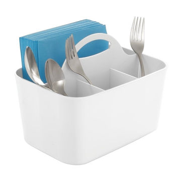 mDesign Silverware Flatware Caddy Organizer for Kitchen Countertop Storage Di...
