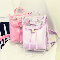 Fashion Women Backpack 2017 PU Leather Women Backpack Girl High Quality candy color transparent shoulder cute mini school bag