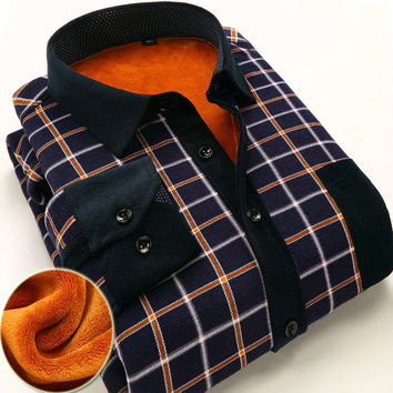 Newest style men shirts thick warm plaid shirt high-quality tops men's fleece popular casual clothes loose formal men shirts