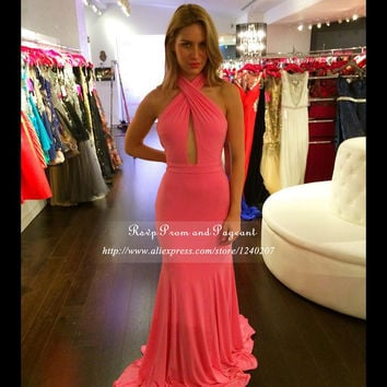 Sweet Long Mermaid Prom Dresses 2016 Cut Out Halter Floor Length Backless Mermaid Prom Dress