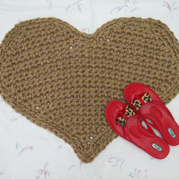 Heart Shaped Jute Throw Rug - Valentine Rug - Primitive Decor - Indoor Outdoor Rug - Kitchen Mat - All Natural Vegan Rug - Eco Friendly