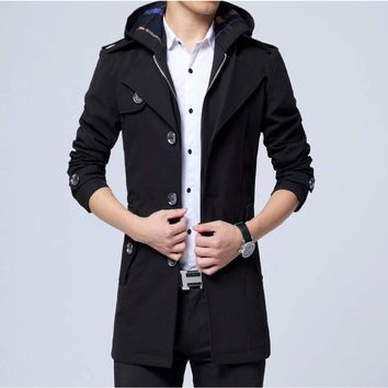 Mens Black Military Style Hooded Trench Coat