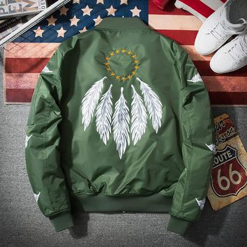 2017 Bomber Jacket Men Pilot with Patches Army Green Thin Pilot Bomber Jacket Men Wind Breaker Jacket Men