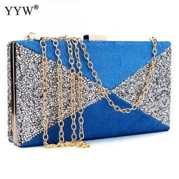 Fashion Female Evening Party Bag Blue Geometric Women Handbags Clutch Bag Red Interlock Buckle Shoulder Bags Small Flap Bag