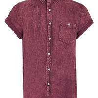 Wine Crackwash Short Sleeve Denim Shirt - TOPMAN