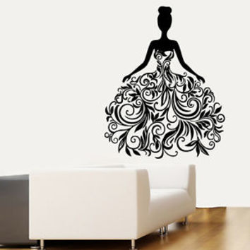Wall Decals Vinyl Decal Sticker Girl Floral Dress Design Beauty Shop Decor kk11