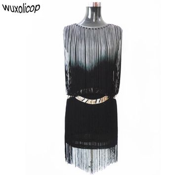 Vintage Great Gatsby Party 1920s Flapper Dress Costume Summer Vestido Sleeveless Silver Waist Diamond Ombre Fringe Mini Sundress