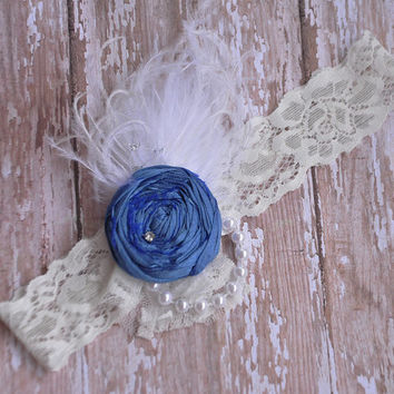 Cornflower blue silk rosette headband-shabby chic-wedding-newborn-photo prop-fancy headband- baby shower- birthday gift-boutique-couture