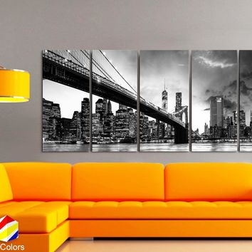 "XLARGE 30""x 70"" 5 Panels Art Canvas Print beautiful Brooklyn Bridge Skyline night New York Black & White Wall Home decor (framed 1.5"" depth)"