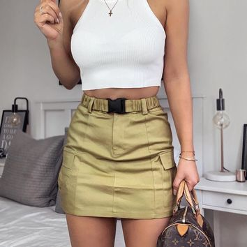 Sexy bag hip skirt street women's explosion belt large pocket skirt