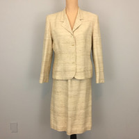 Vintage 70s Womens Suit Tweed Suit Skirt Suit Business Suit Linen Suit Straight Skirt Beige Cream Tan Medium 1970s Womens Vintage Clothing