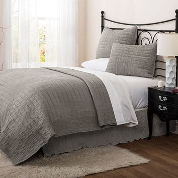 Lush Decor C24676P14-000 Crinkle Solid Gray Three-Piece Full/Queen Quilt Set - (In No Image Available)