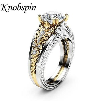 2018 Hot Sale European Fashion Jewelry Gold Color Zircon Women Ring Fashion Simple Wedding Band Finger Rings US Size 6-10 bague
