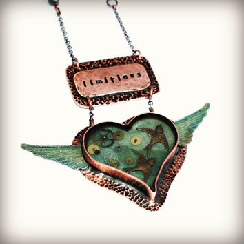 COPPER and RESIN Mixed Media Necklace - Winged Hammered Heart with Verdigris Wings, Brass Bird Charms, Copper Chain, Copper Limitless piece