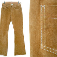 Vintage Suede Bell Bottoms~Size Small/Medium~70s 90s Tan Brown Hippie Leather Flare Pants~By Charlotte Russe