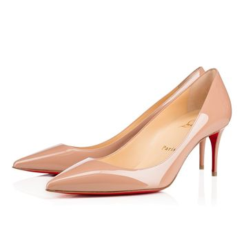 Best Online Sale Christian Louboutin Cl Decollete 554 Nude Patent Leather 70mm Stiletto Heel Classic