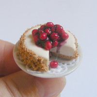 Scented Cherry Cheesecake Miniature Food Ring - Miniature Food Jewelry