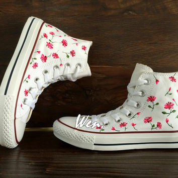 WEN Original Design Nature Floral Converse Floral Shoes Custom Hand Painted Shoes,Custom Canvas Shoes Best Christmas Gifts Birthday Gifts