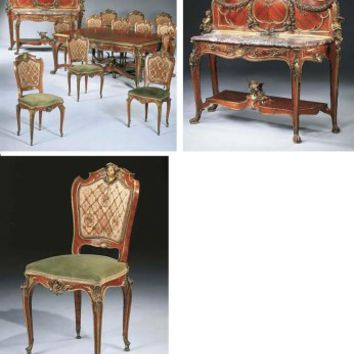 A highly important French ormolu-mounted kingwood and tulipwood dining suite, BY FRANÇOIS LINKE, THE MOUNTS DESIGNED BY LÉON MESSAGÉ, PARIS, CIRCA 1904