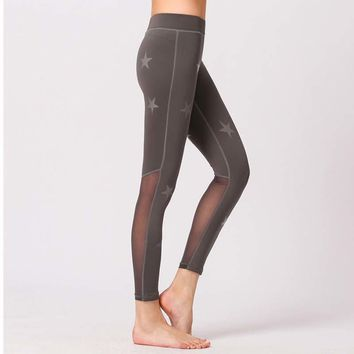Star Mesh Sexy Sport Leggings Women Fitness Gym Yoga Pants Leggins Sportswear sports Jogging Pants Running Tights Gym Clothing