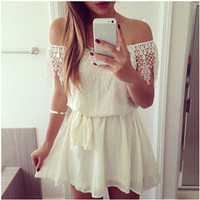 Strapless shoulder chiffon sexy slash neck white lace dress