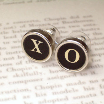 Typewriter Key Jewelry Stud Earrings With XO  Hugs by HauteKeys