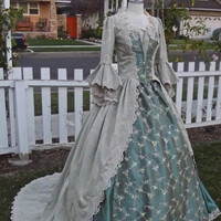 Sea-Green Sparkle Fantasy Marie Antoinette Mermaid Gown Custom Size